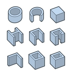 Metal Profiles Icons Set Steel Products vector image vector image