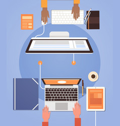 people using computers businesspeople hand vector image vector image