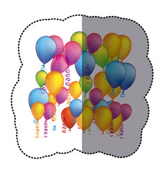 sticker colorful background with flying balloons vector image