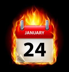 twenty-fourth january in calendar burning icon on vector image vector image