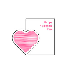 valentine day postcard with scribble heart vector image