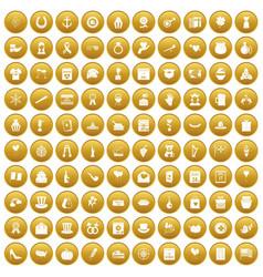 100 calendar icons set gold vector