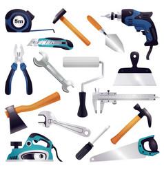 construction renovation carpentry tools set vector image vector image