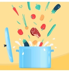 Cooking food in Pot vector image