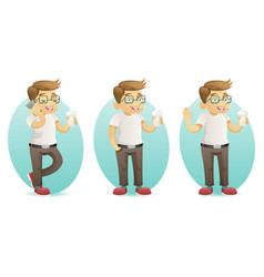 cute smiling geek happy hipster with smartphone vector image