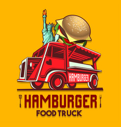 food truck hamburger burger fast delivery service vector image vector image
