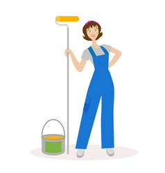 girl painter with a paint roller and paint bucket vector image