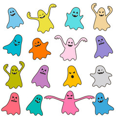 set of colorful funny ghost icons vector image vector image
