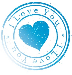 stamp -i love you- blue vector image
