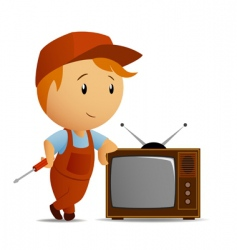 TV technician vector image