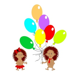 A couple of funny hedgehogs with balloons vector image
