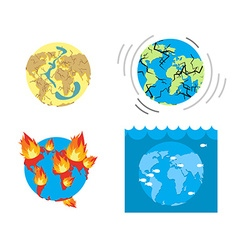 Apocalypse Types end of world Earth disasters Set vector image