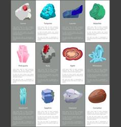 aquamarine ruby malachite agate sapphire carnelian vector image