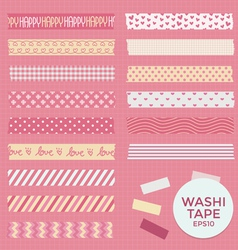 Collection of Cute Patterned Washi Tape vector image vector image
