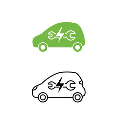 electric car with wrench icon maintenance service vector image