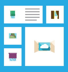 flat icon glass set of cloud glazing balcony and vector image