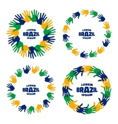 Set of hand print icons using Brazil flag colors vector image vector image
