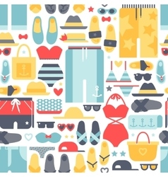 Summertime accessories seamless pattern vector image