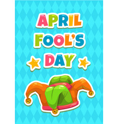 April fools day greeting card template vector