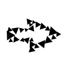 Arrow with contour of triangles icon simple style vector image