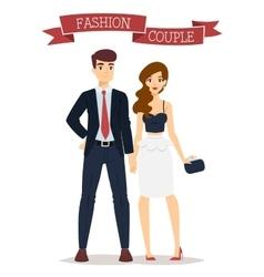 Beautiful cartoon couple fashion clothes vector