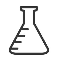 Chemistry flask icon in black and white colors vector image
