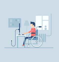 disabled man working at home - flat design style vector image