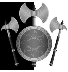 fantasy shields and axes sixth variant vector image vector image