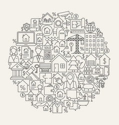 real estate line icons circle vector image