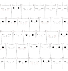 Seamless pattern with cute cats Elegant thin line vector image vector image