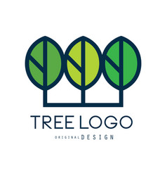 Tree logo original design green eco badge vector