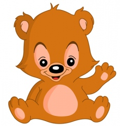 waving teddy bear vector image vector image