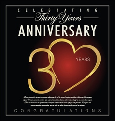 30 years Anniversary black background vector image vector image