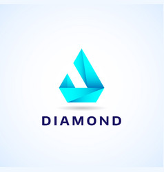 abstract blue geometric diamond shape company vector image