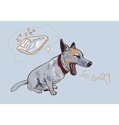 Adorable yawning dog vector image