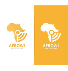 Africa and wifi logo combination safari vector