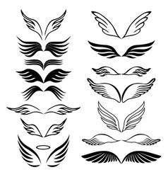 angel wings set hand drawn sketch on white vector image