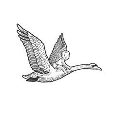 Baby flying swan sketch vector