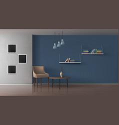 Book cafe minimalistic interior realistic vector