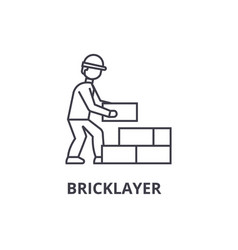 bricklayer line icon sign on vector image