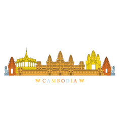 cambodia landmarks skyline line and colourful vector image