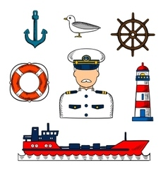 Captain or sailor with nautical objects vector