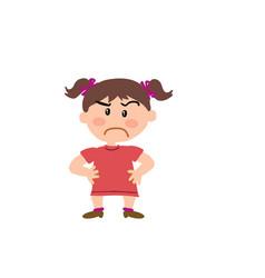 Cartoon character of a serious girl vector