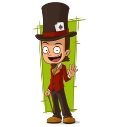 Cartoon happy in high-hat vector image