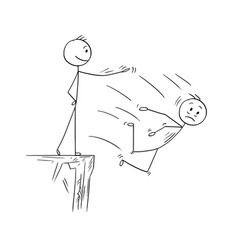 Cartoon of man or businessman pushing competitor vector