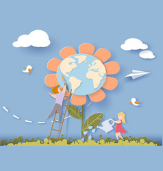 Children caring for the earth flower vector