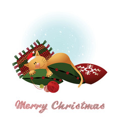 Christmas card with cat vector
