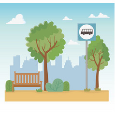 City park scene with chair and bus stop vector