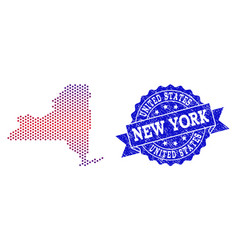 Collage of gradiented dotted map of new york state vector