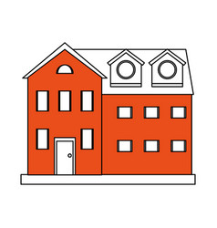Color silhouette cartoon orange facade comfortable vector